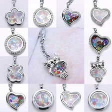 Mix Birthstone Pearl In Floating Charms Living Memory Locket Pendant Keychain