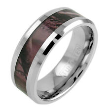 Tungsten Men's Red Forest Camouflage Camo Hunting Band Ring Size 9-14