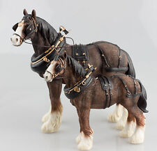 Leonardo Country Life Shire Horse In Working Harness & Yoke Choice of Sizes NEW