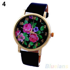 Womens Exquisite Rose Flower Dial Leather Strap Quartz Analog Trendy Wrist Watch