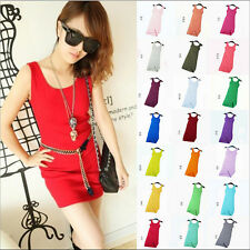 Womens Summer Candy Color Sleeveless Cami Sundress Casual Blouse Tank Dress WFR
