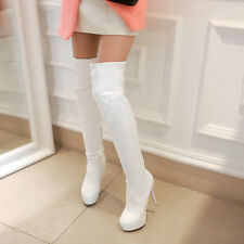 Womens Over The Knee High Boot High Heel Platform Side Zip Motorcycle Roma Shoes