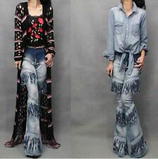 Womens Nice Tassel Bell-bottom  Motorcycle Jeans Stretch Cowboy Pants