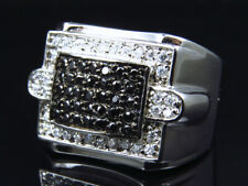 Mens Stainless Steel Simulated Diamond Cutout Style Ring White Gold Finish 22mm