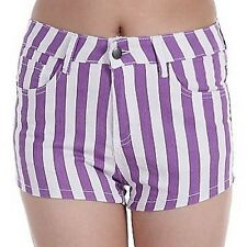 UK Mega Sale: Fashion Trend Purple & White Striped Denim Shorts Party Hot Pants