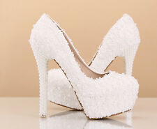 Womens platform pump white flower lace pearl wedding high heels sweet bride shoe