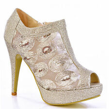 NEW Womens Silver See-Thru Sequin Ankle Booties High Heel Evening Peep Toe Shoe
