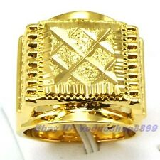 Size 9,10,11 Ring,REAL STATELY MEN 18K YELLOW GOLD GP CUTTING SOLID FILL 7881r