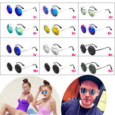 Round Vintage Retro Style Glasses Classical Metal Frames Reflect Sunglasses