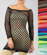 New Sexy Long Sleeve Fishnet Shirt Top Club Wear GOGO Dance Blouse One Size