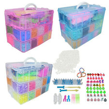 Colour Loom Band Set Rainbow Bracelet Making Kit C-Clips Rubber Band Refill Bags