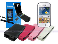 Leather Flip Wallet Case+Screen Protector for Samsung Galaxy S Duos S7562