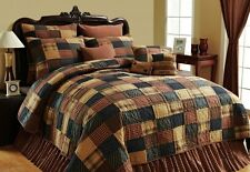 AMERICAN RED PATCH QUILT Twin Queen Cal King : PRIMITIVE RUSTIC BROWN COMFORTER