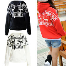 Women Korean Hoodies Fleece Jacket Coat Deer Print Outerwear Sweatshirt Tops