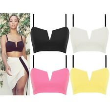 New Plunge V Cut Strappy Padded Cups Zip Party Bralet Bra Crop Top UK 8 10 12