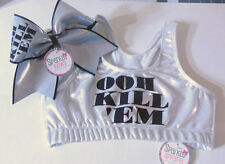 Ooh Kill Em Silver and Black Sports Bra and Bow Set Cheerleading