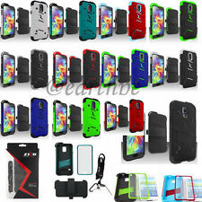 For Samsung Galaxy S5 SV Screw-On Bolt Case Cover Lanyard Tool Belt Clip Holster