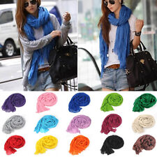 """66"""" Long Women Lady Linen Cotton Solid Color Crinkle Fashion Scarf Wrap Shawl"""