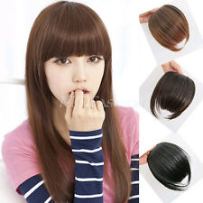 Hot Women Girls Clip on Front Neat Bang Fringe Hair Extensions Straight Cosplay