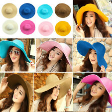 Womens Colorful Wide Large Straw Brim Folding Summer Sun Hats Floppy Beach Caps