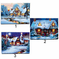 Christmas Scene 40cm Free Standing LED Light up Canvas - 3 Designs