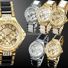 Gold Silver Bling Crystal Lady Women Girl Bracelet Quartz Wrist Watch Gift