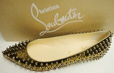 Christian Louboutin Pigalle Spikes Pointed Toe Flats Shoes Bronze 41