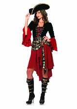 Womens Sexy Crimson Cruel Seas Pirate Outfit Adult Halloween Fancy Costume NEW