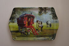 Travellers..Romany Gypsy Caravan with Horse melamine Tea or sandwich  tray ....