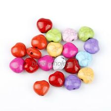 50 PCS Stylish Multi-color Heart Cracks Turquoise Spacer Beads Finding Making