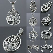 Gothic Punk Stainless Steel Tree Of Life Lily Cross Star Pendant Charms Jewelry