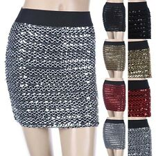 GLITTER SEQUINS Stretch Waist Band Mini Skirt Disco Clubwear Sexy Span S M L