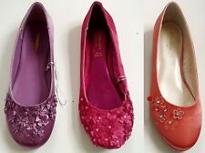 MONSOON Girls PINK MAUVE CORAL Satin Flower Ballet Pumps Flats Shoes UK3 UK4 £22