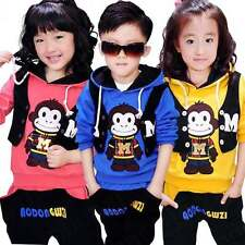 2014 Kids boys girls outwear Hoodie Tops+Pants Sets Autumn spring Clothes 4-9Y