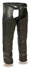 Mens Black Buffalo Leather Chaps, Removable Thermal Liner, Slash Pockets