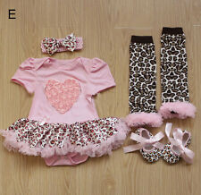Kids Newborn Infant Baby Girls Taenia+One-piece+Leg Warmers+Shoes Sets Clothing