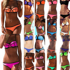 Sexy Women Waterproof Neoprene Triangle Bikini Set Swimsuit Swimwear Top &Bottom