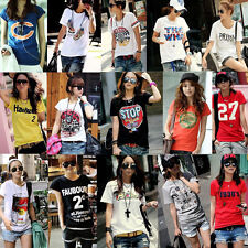 Cartoon 53 Style Women Lady Casual Loose Short Sleeve Letter T shirt Blouse Tops