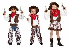 Kids Childrens Cowboy Cowgirl Fancy Dress Up Wild West Costume Ages 1 - 12 Years
