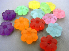 10mm 60/100/../500pcs FROSTED ASSORTED ACRYLIC LUCITE FLOWER BEAD FF5948