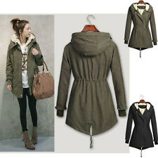 Ladies Fleece Hooded Parka Womens Winter Warm Top Coat Hood Overcoat Long Jacket