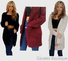 WOMENS CASUAL BLACK GREY WINE RED OVERSIZED CHUNKY KNITTED LONG CARDIGAN (KM)