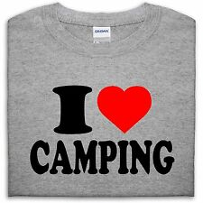I LOVE HEART CAMPING T SHIRT TOP FUNNY GIFT MENS WOMEN GIRL BOY CAMP HOLIDAY