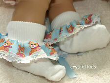 Baby Girls Reborn Blue White Lace Frilly Teddy Bear Socks 4 Sizes