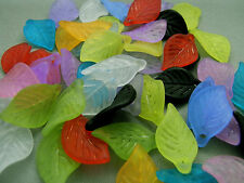 18mm 70/100/../500pcs GREEN FROSTED ACRYLIC LUCITE LEAF BEADS TZ1714