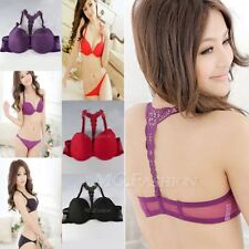 Sexy Women Ladies Front Closure Lace Racer Back Push Up Seamless Bra