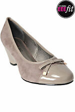 Plus Size Womens Mushroom Wedge Shoe With Patent Toe Cap And Bow Detail