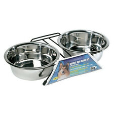 Hagen Dogit STAINLESS STEEL DOUBLE DINER w/STAND Bowl Dog Pet Feeder LARGE