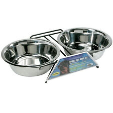 Hagen Dogit STAINLESS STEEL DOUBLE DINER w/STAND Bowl Dog Pet Feeder EXTRA LARGE