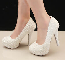 Noble Gorgeous Lace Handmade Pearl Checker Diamonds Wedding shoes High Heels